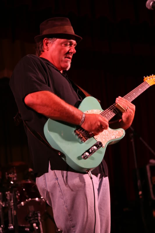 The man likes rock and likes to rock. Drew Arnold cutting loose at the San Luis Obispo Blues Society concert