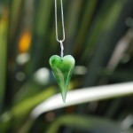 "Custom Ordered hand carved heart on Sterling Silver from an incredible piece of ""Snow"" Jade"