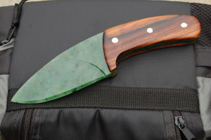 "Made this for my Bro's 50th b-day. Yukon ""Snow"" Jade full tang blade, Brazilian Rosewood Scales, Abalone inlay"